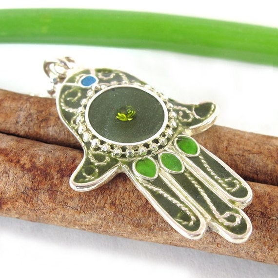 Hamsa necklace - Army green,  Filigree silver
