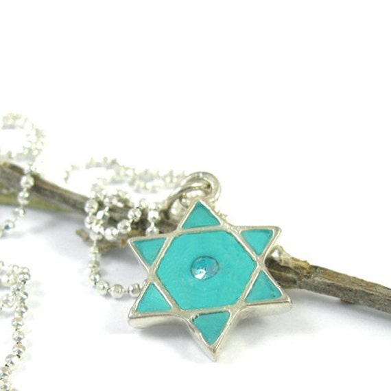 Turquoise  Star of David - Silver  Necklace