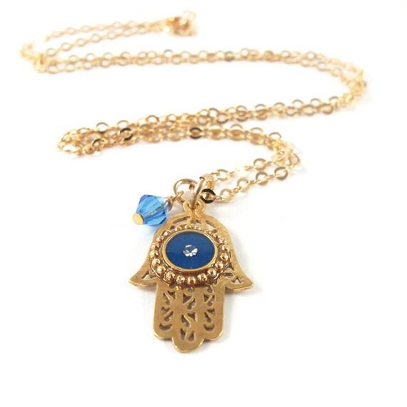 Gold Hamsa  Necklace - gold filigree, blue pendant and Light Sapphire crystal,  Bat Mitzvah gift