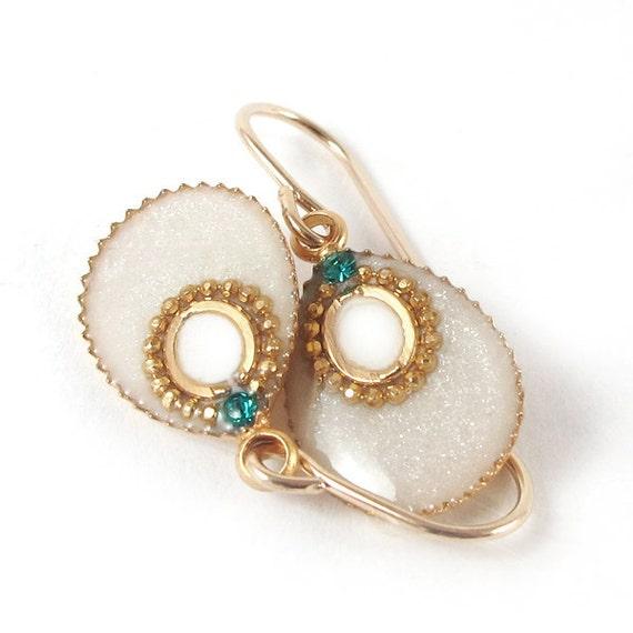 White earring, Gold dangle earrings, drop earrings,14K gold filled earrings,  small earrings, pearl color earrings,wedding jewelry