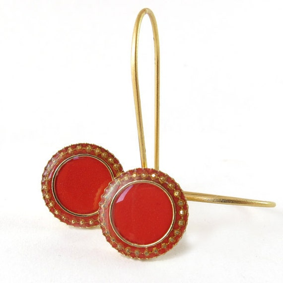 Red Earrings, Gold plated Dangle Earring , resin color,  nickel free