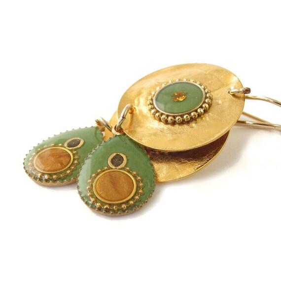 Gold Earrings, Dangle, Green Drop hanging on a gold disk,  sparkle earrings,  Ocher Mustard resin color