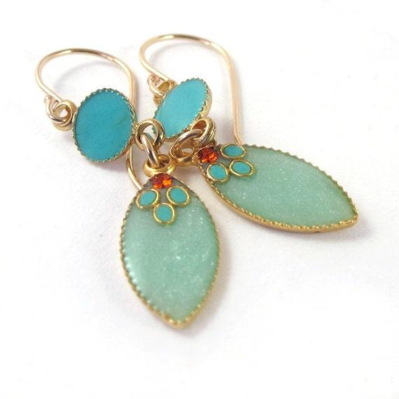 Gold  Long Dangle Earrings, Light green Marquise , aqua, turquoise circle, mint color, women, teen girls