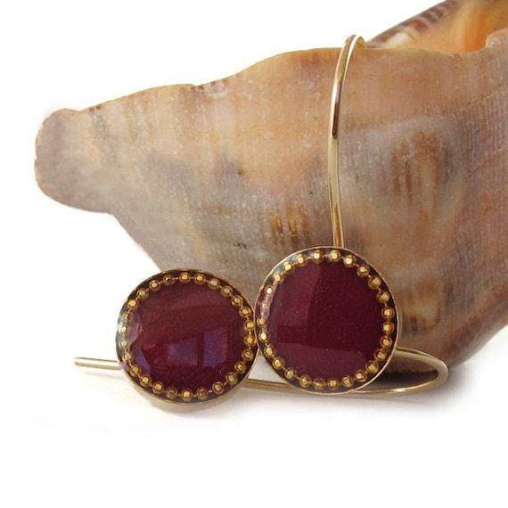Burgundy earrings, dark red earrings,   14K gold filled,  leverback earrings, Gold dangle  Earrings ,
