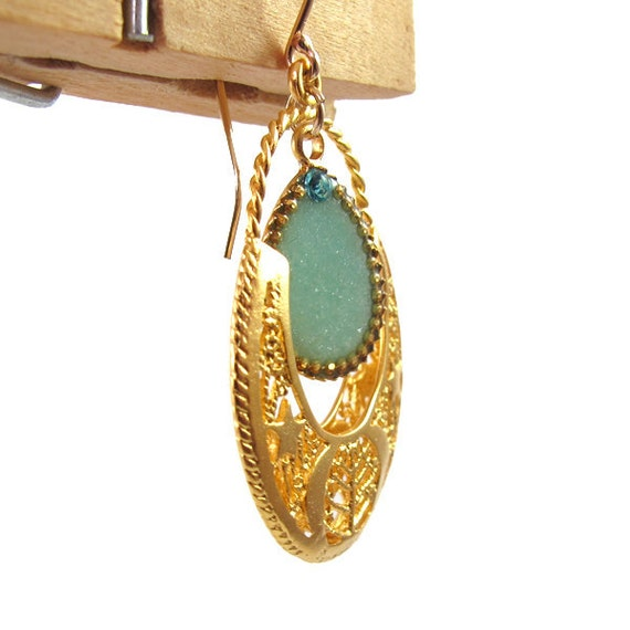 Ethnic Gold Earrings, Light green, mint drop hanging from 14K gold filled, dangling earrings