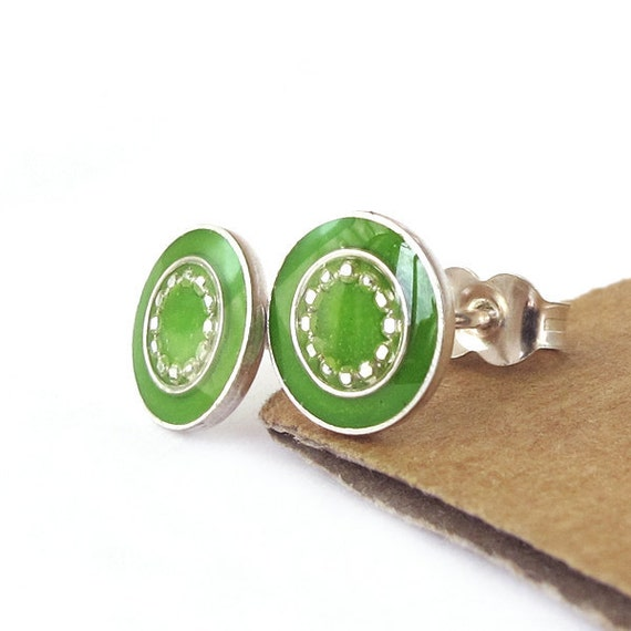 Silver  Studs Earrings -Green color resin, small circle, bright earrings, green post earrings