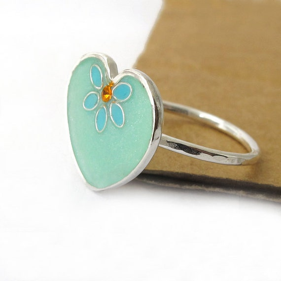 Silver Heart  Ring - light green, mint resin color, turquoise small leaves, orange Swarovski crystal