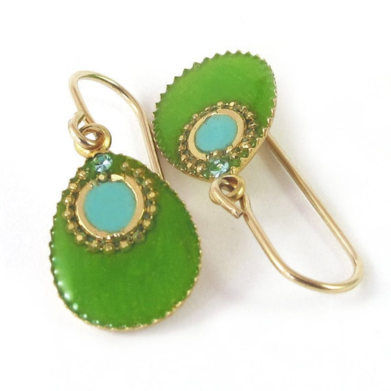Gold small dangle Earrings, Green earrings,  Apple green and turquoise Drop,  resin color,  14K gold filled , for her, under 40