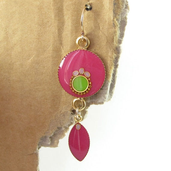 Gold Long Dangle Earrings, Fuchsia and apple green color, circle and Marquise, boho style, 14K gold filled earrings, resin