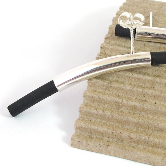 Post Earrings, studs, Black sterling silver Earrings, Long modern studs silver earrings, black Silicon,  minimalist earrings