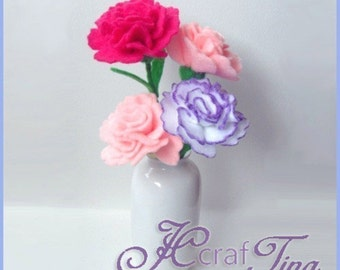 Felt Flowers - Carnations PDF pattern