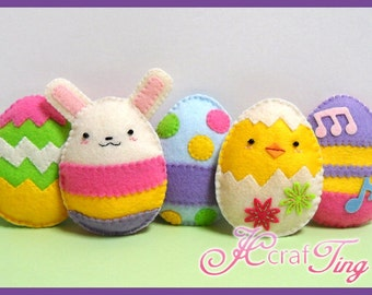 Delightful Felt Easter Eggs, Chick and Bunny - PDF Pattern