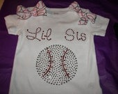 Lil Sis Or Big Sis Baseball  Tee or Tank--Lots of Sparkle and Bling--Can be customized in your team colors