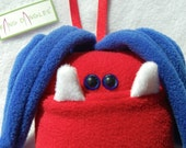 Monster Tooth Pillow - Red and Blue