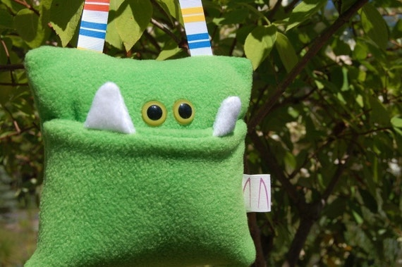 Lime Green Monster Tooth Fairy Pocket Pillow with Multicolored Striped Ribbon