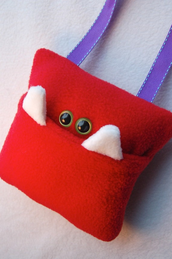 Monster Tooth Pillow - Red and Purple