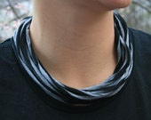 Recycled T-Shirt Necklace Black and Gray