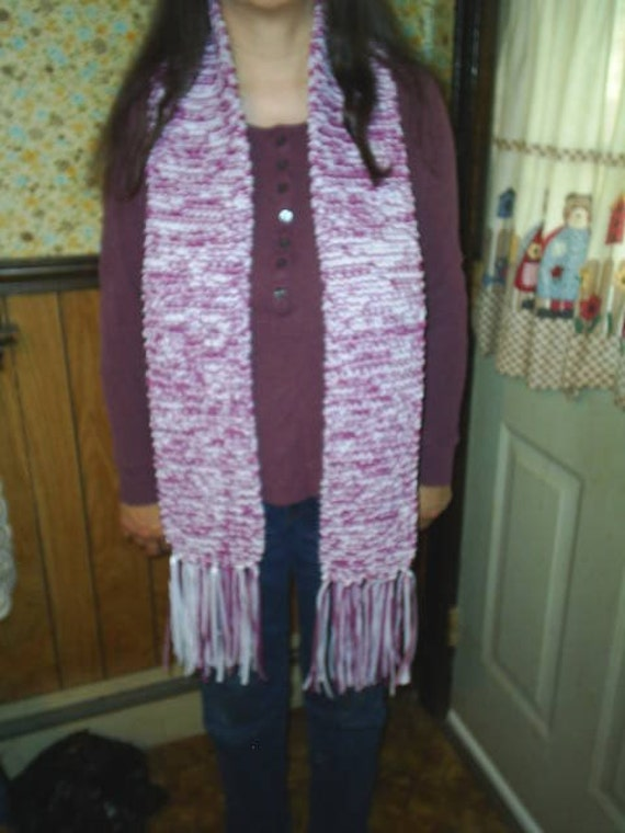 Raspberry Sherbet Hand Knit Scarf / Unisex Scarf / Knit Accessories / winter wear / purple