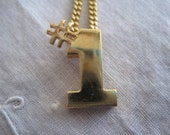Vintage Avon Gold Tone Number One Necklace