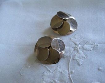 Vintage Gold Clip On Multi-Circle Earrings