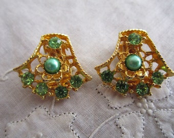 Vintage Gold Tone Green Rhinestone and Bead Clip On Earrings