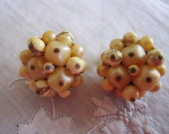 Vintage Gold Tone Beige Beaded Clip On Earrings from Japan