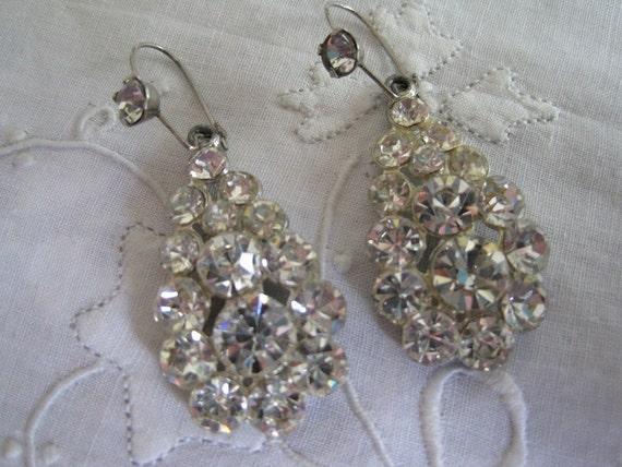 Vintage Pierced Rhinestone Earrings