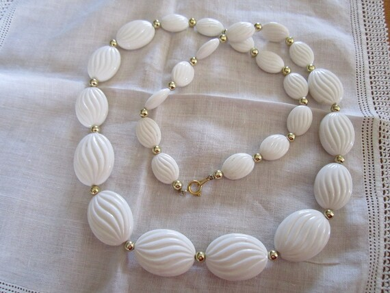 Vintage White Plastic Beaded Necklace with Gold Tone Metal Beads