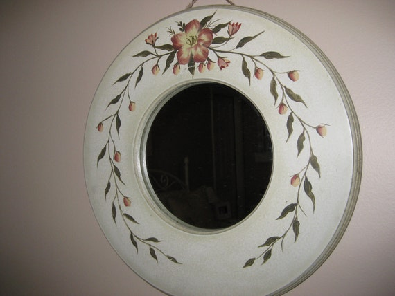 "Hand Painted Vintage Floral Round Wall Mirror 14""  - Pink Green Gray Rose"