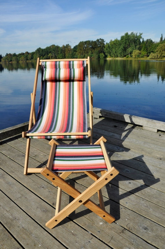 Sale! oak deck chair with Tulum stripey fabric