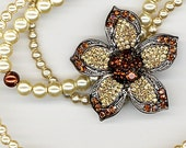 Brown Crystal Flower Pendant with Pearls