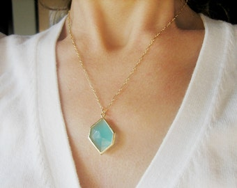 DIAMOND milky turquoise rough cut glass crystal pendant necklace