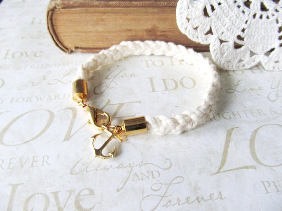 KNOTTY braided nautical rope bracelet with anchor charm (gold or silver)