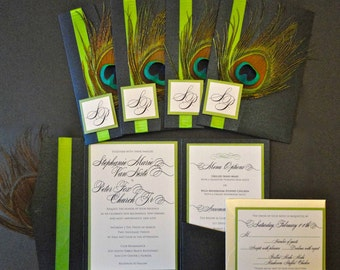 CUSTOM SAMPLE: Peacock Feather Pocketfold Wedding Invitation