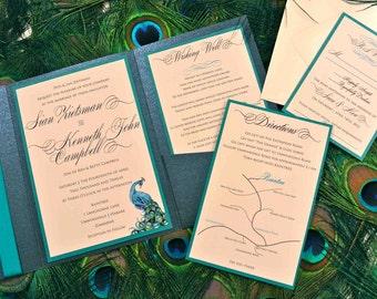 Custom Peacock Feather Pocketfold Wedding Invitation