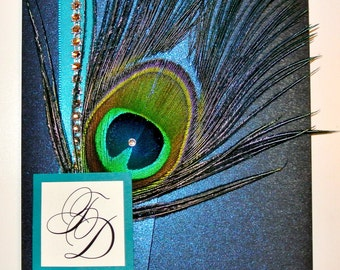 Rhinestone Band Peacock Feather Pocketfold Wedding Invitation