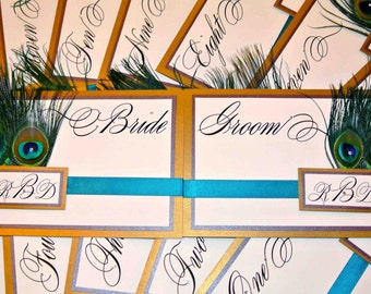 Double Backed and Peacock Feathers Bride & Groom Signs