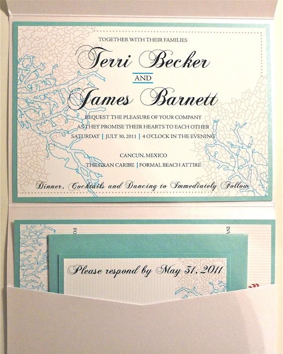 Layered Coral Wedding Invitation