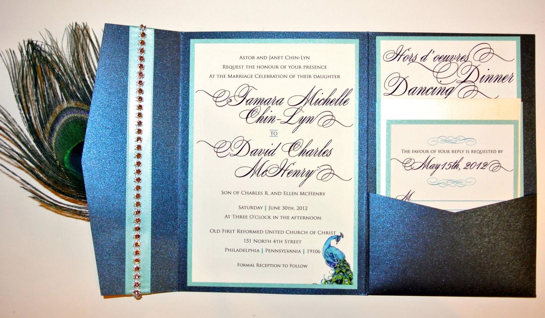 Peacock Wedding Invitations Template: Rhinestone Band Peacock Feather Pocketfold Wedding Invitation