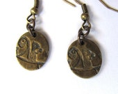 Squirrel Earrings Brass Charm Squirrel with Acorn Cute Animal Jewelry by HendysHome