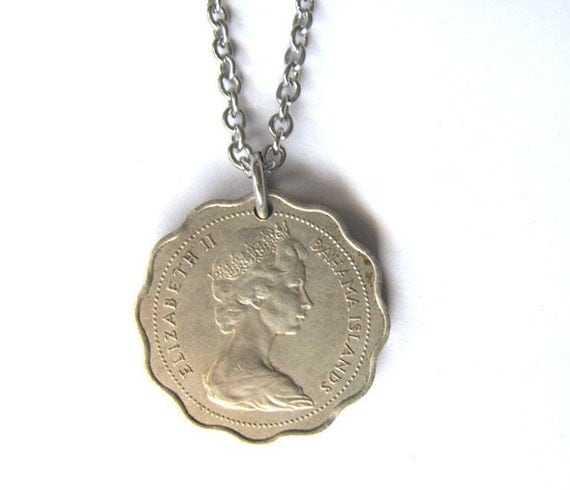 Coin Necklace Authentic Vintage Recycled Upcycled Coin Bahama Islands 1969 10 cents Coin Jewelry Pendant by Hendyshome