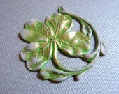 Irish Shamrock Four Leaf Clover Brass Stamping Pendant Charm with  Pink and Green Faux Patina- 0916