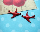 Very Tiny Swallow Bird with Two Loops Brass Stamping Pendant Charm with Red Faux Patina- Set of Two- Hand Painted Metal In Flight - 0515