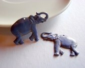 Small Elephant Charm Faux Patina Brass Stamping Pendant Earring Lavender and Gold Set of Two Hand Painted 1808-1809