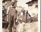 Vintage Photo -  Old Man and Young Girl