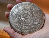 On SALE Vintage Etched Sterling Silver Argenta Compact with Puff and Mesh in amazing condition Aztec Sun design