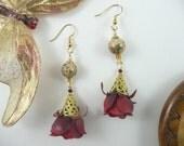 Asian Silk Flower Earrings