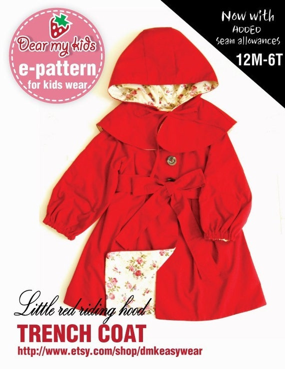 Little Red Riding Hood Trench Coat - raglan sleeves, elasticated sleeves, belt, cape hood ( Age 1 to 6) PDF patterns