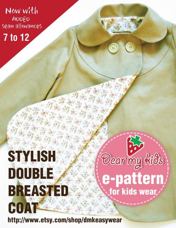 Stylish kids coat for junior - Double breasted, peterpan collar ( Age 7 to 11) PDF patterns
