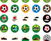 "Soccer Boys B 02070 - Cute Printable Circle 1.313"" -  Digital Collage Sheet - Images for badge button, magnet"